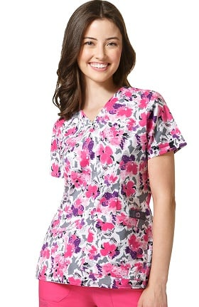 WonderFLEX by WonderWink Women's V-Neck Floral Print Scrub Top