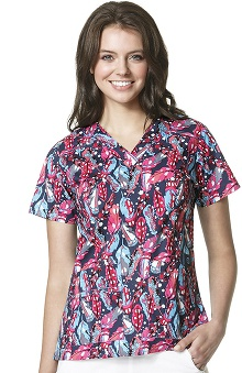 Clearance WonderFLEX by WonderWink Women's V-Neck Print Feather Scrub Top