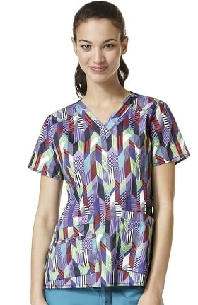 Clearance Wonderflex by Wonderwink Women's V-neck Chevron Print Scrub Top