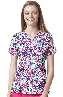 Wonderflex By Wonderwink Women's V-Neck Animal Print Scrub Top
