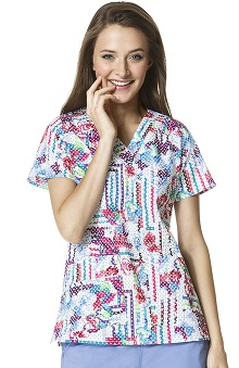 Clearance WonderFLEX by WonderWink Women's V-Neck Dot Print Scrub Top