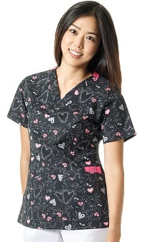 WonderFLEX by WonderWink Women's V-Neck Heart Print Scrub Top