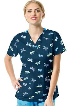 WonderFLEX by WonderWink Women's V-Neck Butterfly Print Scrub Top