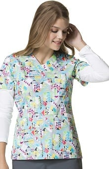 WonderFLEX by WonderWink Women's V-Neck Geometric Print Scrub Top