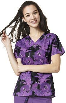Clearance Wonderflex By Wonderwink Women's V-neck Floral Print Scrub Top