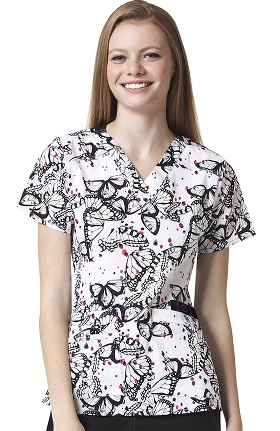 Clearance WonderFLEX by WonderWink Women's V-Neck Butterfly Print Scrub Top
