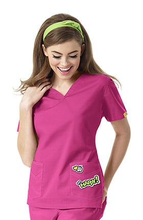 I Love WonderWink Women's V-Neck Solid Scrub Top