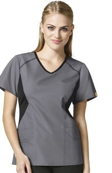 Origins by WonderWink Women's Sporty V-Neck Solid Scrub Top