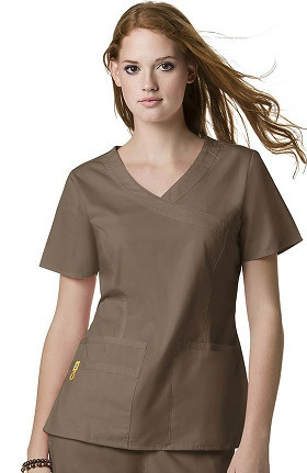 Clearance Mink by WonderWink Women's Fashion Y-Neck Solid Scrub Top