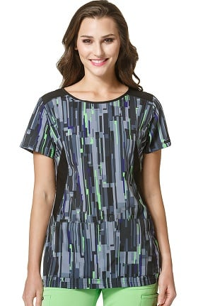 High Performance by WonderWink Women's Boat Neck Geometric Print Scrub Top