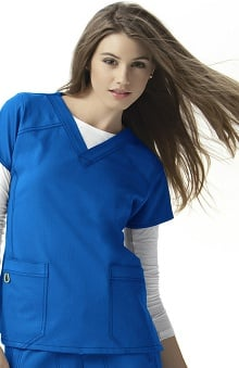 Four-Stretch by WonderWink Women's Sporty V-Neck Solid Scrub Top