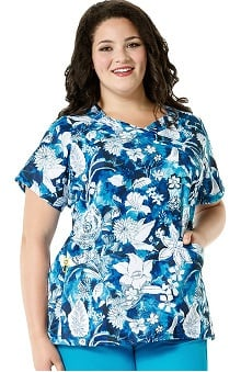 Plus by WonderWink Women's Mock Wrap Floral Print Scrub Top