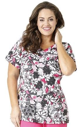 Plus by WonderWink Women's Mock Wrap Floral Print Scrub Top