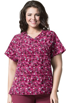 Clearance Plus by WonderWink Women's Mock Wrap Dot Print Scrub Top