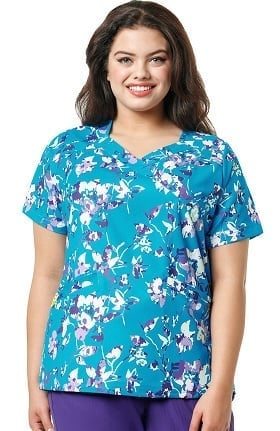 Clearance Plus by Wonderwink Women's Mock Wrap Floral Print Scrub Top