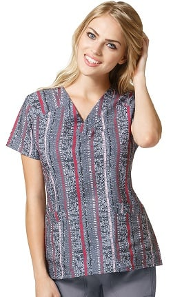 Four Stretch by WonderWink Women's V-Neck Stripe Print Scrub Top