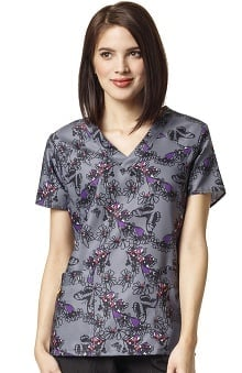 Four Stretch By Wonderwink Women's V-Neck Floral Print Scrub Top