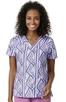 Four Stretch By Wonderwink Women's V-Neck Geometric Print Scrub Top
