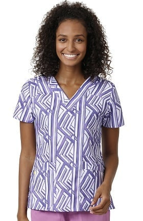 Clearance Four Stretch by Wonderwink Women's V-Neck Geometric Print Scrub Top