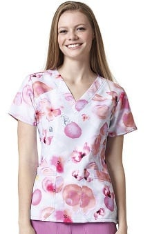 Clearance Four Stretch by WonderWink Women's Four-Stretch V-Neck Floral Print Scrub Top