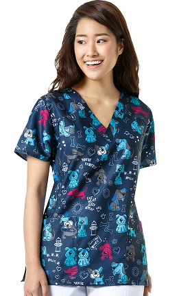 Four Stretch By Wonderwink Women's V-Neck Dog Print Scrub Top