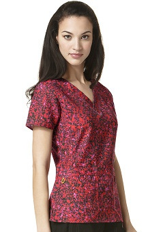 Four Stretch by WonderWink Women's V-Neck Abstract Print Scrub Top