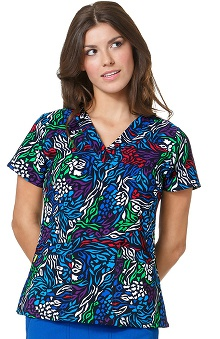 Clearance Four Stretch by WonderWink Women's Four-Stretch V-Neck Abstract Print Scrub Top