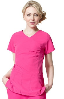 Easy Fit by WonderWink Women's Mock Wrap V-Neck Solid Scrub Top