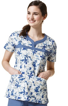 Wonderflex by Wonderwink Women's Curved Notch Neck Floral Print Scrub Top