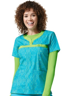 Wonderflex by Wonderwink Women's Curved Notch Neck Animal Print Scrub Top