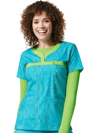 Clearance Wonderflex by Wonderwink Women's Curved Notch Neck Animal Print Scrub Top