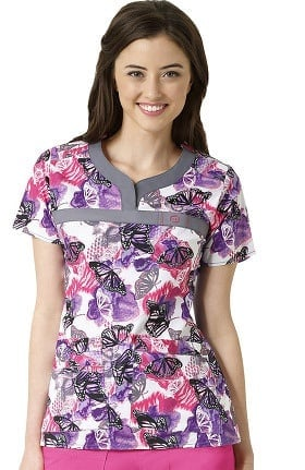 WonderFLEX by WonderWink Women's Y-Neck Butterfly Print Scrub Top