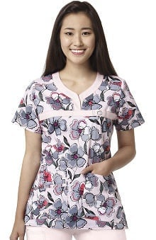 WonderFLEX by WonderWink Women's Y-Neck Floral Print Scrub Top