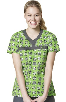 Clearance WonderFLEX by WonderWink Women's Y-Neck Butterfly Print Scrub Top