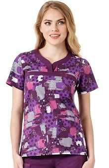 Wonderflex By Wonderwink Women's Y-Neck Dot Print Scrub Top
