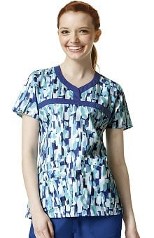 Wonderflex By Wonderwink Women's Y-neck Abstract Print Scrub Top