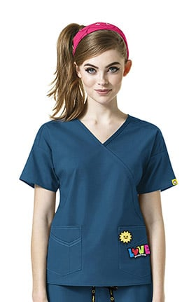 I Love WonderWink Women's Mock Wrap Solid Scrub Top