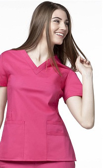 Clearance Utility Girl by WonderWink Women's Stretch V-Neck Solid Scrub Top
