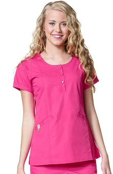 Clearance Mink by WonderWink Women's Fashion Round Neck Solid Scrub Top