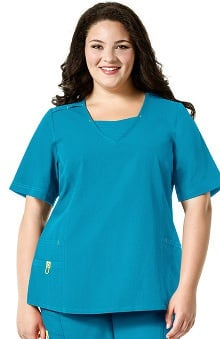 Plus by WonderWink Women's Modified V-Neck Solid Scrub Top