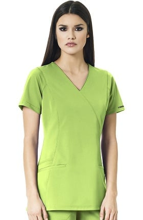 High Performance By Wonderwink Women's Axis Mock Wrap Solid Scrub Top
