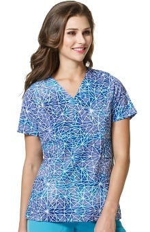 High Performance by WonderWink Women's Mock Wrap Geometric Print Scrub Top