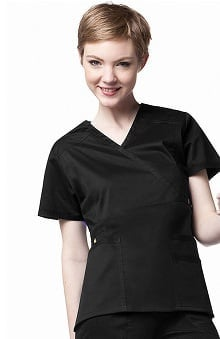 Clearance Utility Girl by WonderWink Women's Stretch Wrap Solid Scrub Top