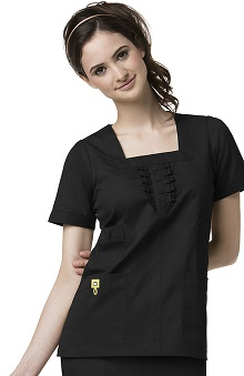 Clearance Mink by WonderWink Women's Ruffle Square Neck Solid Scrub Top
