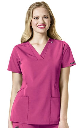 High Performance by WonderWink Women's Sequence Stylized V-Neck Solid Scrub Top