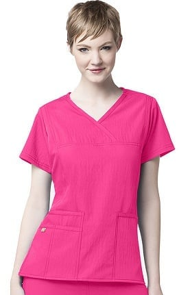 Clearance Four-Stretch by WonderWink Women's Y-Neck Solid Scrub Top