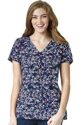 Four Stretch by WonderWink Women's Y-Neck Floral Print Scrub Top