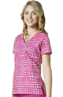 Clearance WonderFLEX by WonderWink Women's V-Neck Abstract Print Scrub Top
