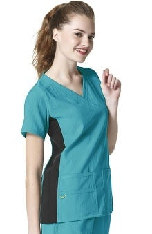 Four Stretch by WonderWink Women's Mock Wrap Knit Panel Solid Scrub Top