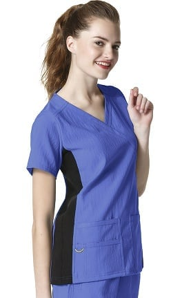 Clearance Four Stretch by WonderWink Women's Mock Wrap Knit Panel Solid Scrub Top